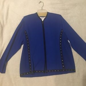 Misook blue zip up top, sz XL, NWT $400